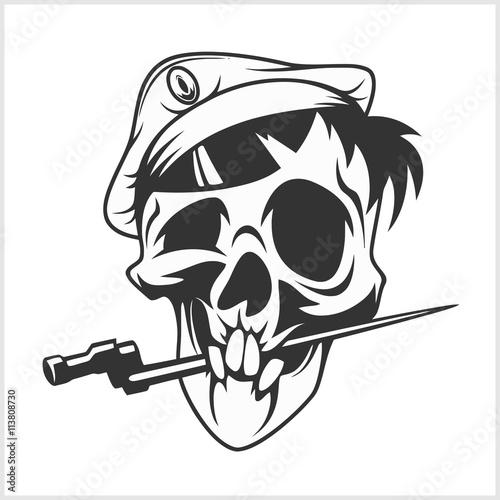 Military Skull Bite A Dagger