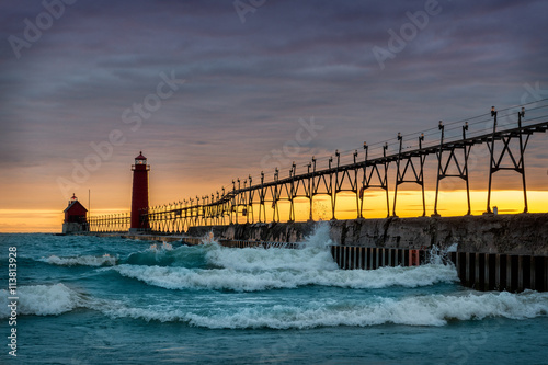 Sunset at the Grand Haven South Pierhead Inner Light with Entrance Light in back Canvas