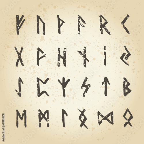 Old scandinavian runes set Canvas Print