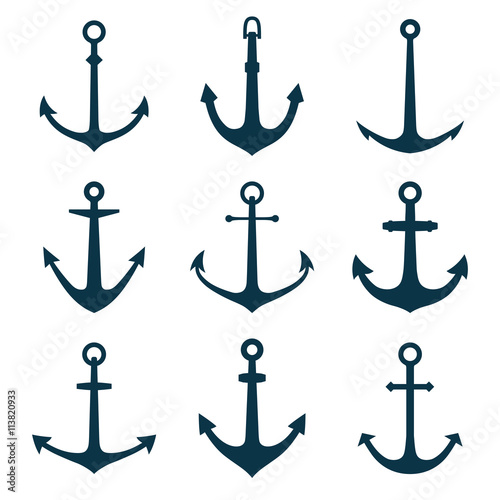 Cuadros en Lienzo Anchors set. Vector illustration of anchors silhouette.