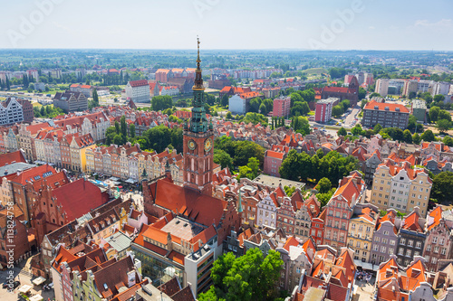 Aerial view of the old town of Gdansk with city hall, Poland © Patryk Kosmider