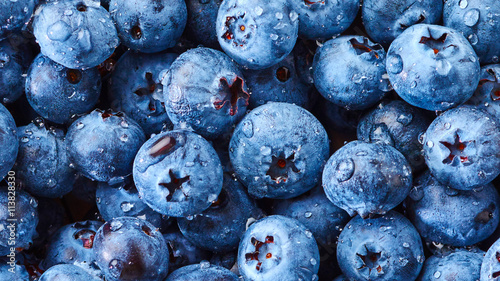 Blueberry with drops of water Fototapeta