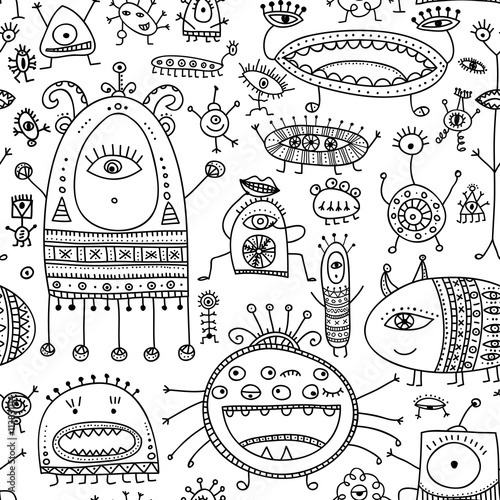Foto auf AluDibond Boho-Stil ethnic ornate style monsters seamless pattern.