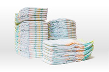A Lot Of Stacked Diapers Isola...