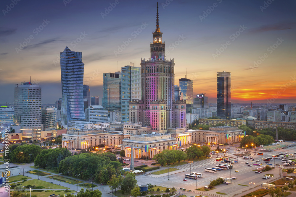 Fototapeta Warsaw. Image of Warsaw, Poland during twilight blue hour.