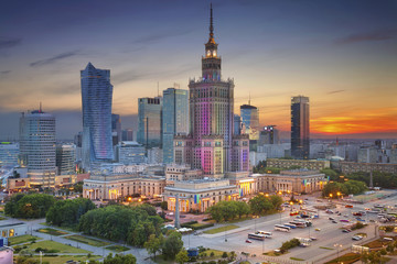 Fototapeta na wymiar Warsaw. Image of Warsaw, Poland during twilight blue hour.