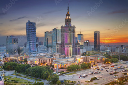 fototapeta na lodówkę Warsaw. Image of Warsaw, Poland during twilight blue hour.