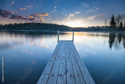 obraz dibond Wooden pier on the lake