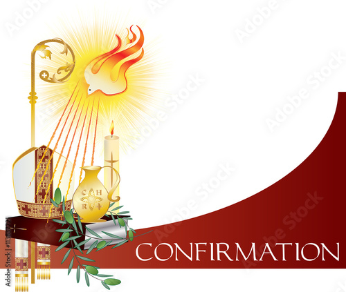 Sacrament of Confirmation, symbolic vector drawing illustration, with the holy olive oil and olive branch, a bishop's pastoral staff and mitre, a dove - symbol of the Holy Spirit Canvas Print