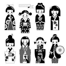 Traditional Japanese Doll. Kokeshi Dolls. Black And White.