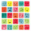 Watercolor colorful emoticons set. Collection of emoji. Vector illustration.