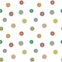 Fototapeta cute colorful daisy flowers seamless vector pattern background illustration