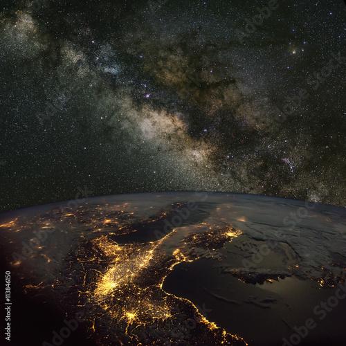 Foto op Aluminium Heelal Milky Way over Italy at night. Includes NASA data.