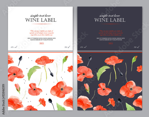 Fototapeta Wine label with watercolor red poppy. Vector template. obraz na płótnie