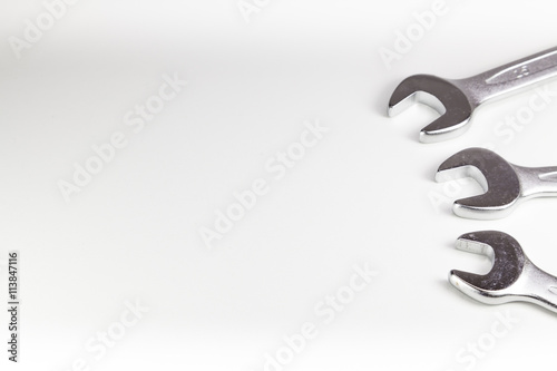 Fototapeta The chrome wrench steel tools obraz na płótnie