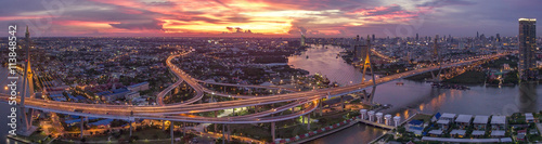 Photo sur Toile Bangkok beautiful aerial view of bangkok dramatic sky at bhumiphol bridg