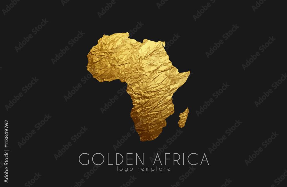 Fototapety, obrazy: Africa. Golden Africa logo. Creative Africa logo design