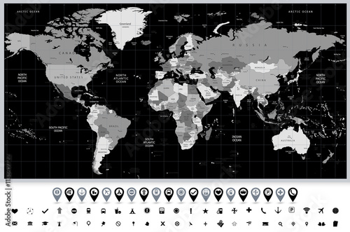 Fototapeta szczegółowa mapa świata