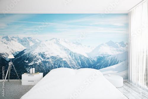 Wnętrze sypialni z tapetą krajobrazową