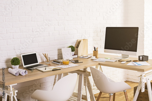 designer workspace in interior