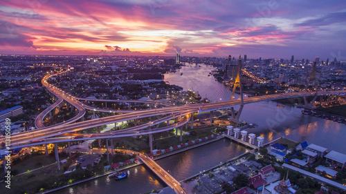 Poster Bangkok beautiful aerial view of bangkok dramatic sky at bhumiphol bridg