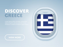 Flight To Greece Traveling Theme Banner Design For Website, Mobile App. Modern Vector Illustration.