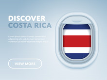 Flight To Costa Rica Traveling Theme Banner Design For Website, Mobile App. Modern Vector Illustration.