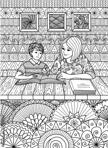 Doodles Design Of Mother Helping Son With His Study At Home For Adult Coloring