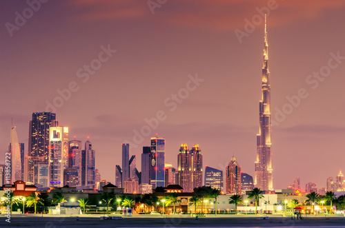 Photo  Dubai, United Arab Emirates: Downtown in the sunset
