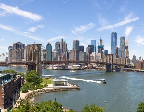 Canvas Prints New York City Manhattan downtown buildings skyline Brooklyn Bridge