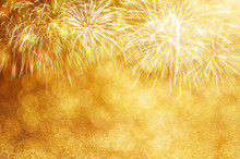 Defocused Gold Fireworks And B...