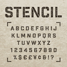 Stamp Stencil Letters, Numbers And Symbols. Grunge Alphabet.