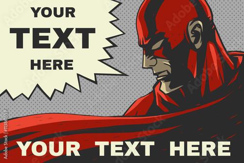 Fotografía  Red superhero. Pop-art comic background