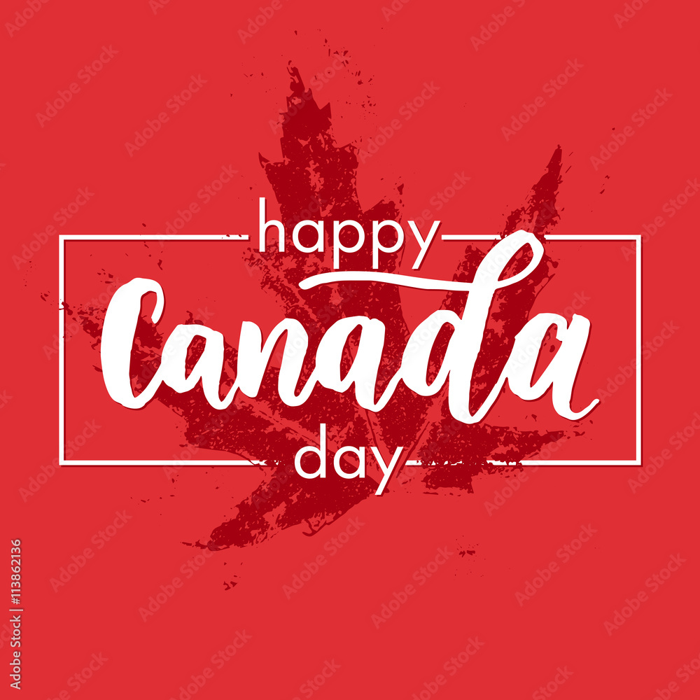 Fototapety, obrazy: happy canada day greeting card poster