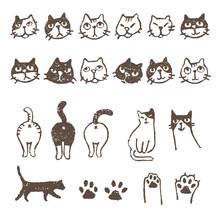いろいろ猫、顔、おしり、肉球イラスト