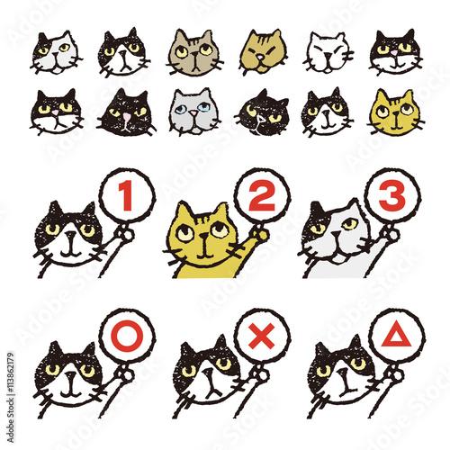 いろいろ猫 顔 順位 まるバツイラスト Adobe Stock でこの