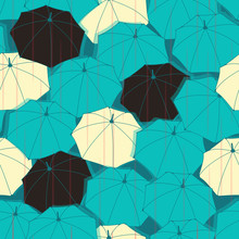 An Umbrella Seamless Tile With Falling Rain In Black, Ivory And Blue
