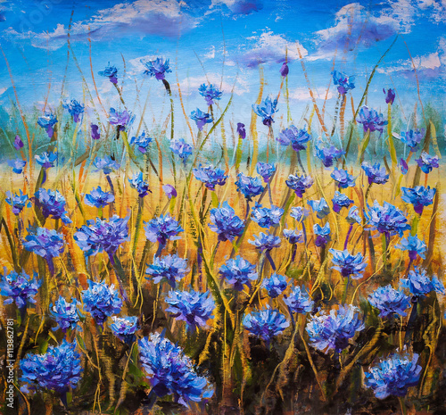 Fototapety, obrazy: Blue flowers field oil painting.