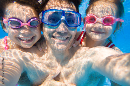 family in swimming pool Wallpaper Mural