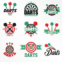 Darts Labels And Icons Set.