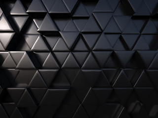 abstract triangle black metal background 3d rendering