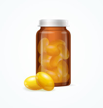 Fish Oil Supplement Capsule And Brown Medicine Glass Bottle. Vector