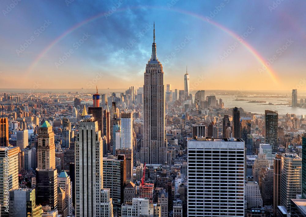Fototapety, obrazy: New York City skyline with urban skyscrapers and rainbow.