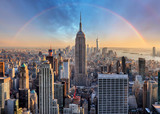 New York City skyline with urban skyscrapers and rainbow. - 113869179