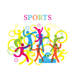 Fototapeta Sport Sports Colorful Illustration,Sports, athletics, Games, Symbol