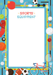 Fototapeta Sport Sports Equipment, Flat Icons Poster Frame, Objects, Recreation and Leisure, Blue Background