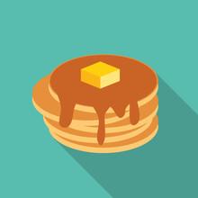 Breakfast Sweet Pancake Icon In Modern Flat Style Vector Illustr