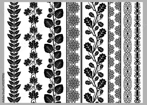 Fotografía Indian Henna Border decoration elements patterns in black and white colors