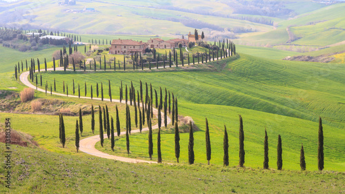 Foto op Canvas Pistache Tuscany landscape with hill, house and cypress