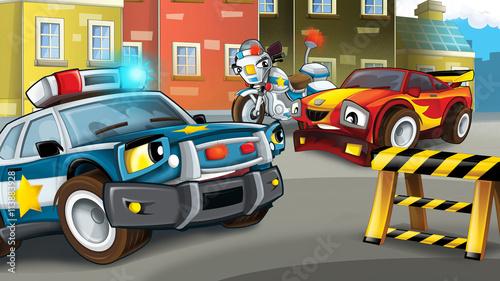 Kreskówki scena policyjna pogoń - samochód łapiąca - ilustracja dla dzieci